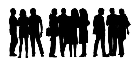 woman s bag: black silhouettes of three different groups of men and women standing and talking to Each Other Stock Photo