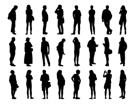 woman s bag: big set of black silhouettes of men and women of different ages standing in different poses, face, profile and back views