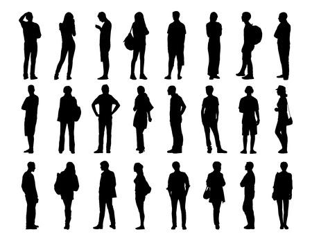 profil: Duży zestaw czarne sylwetki kobiet i mężczyzn w różnym wieku stojących w różnych pozach, twarzy, profilu i z tyłu