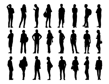 big set of black silhouettes of men and women of different ages standing in different poses, face, profile and back views
