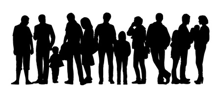 mixed family: black silhouette of a large group of people with children standing outdoor in different postures