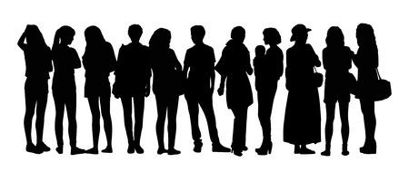 異なる姿勢で立っている話している若い女性の大規模なグループの黒いシルエット