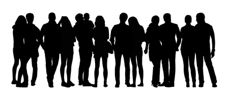 together standing: black silhouette of a large group of young couples standing in different postures
