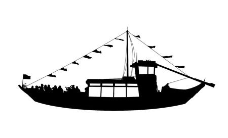 Silhouette profile view of a wooden touristic portuguese river ship with flags and people