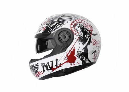 motorcycle helmet with a street art painting on it, profile view Banque d'images