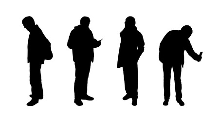 silhouettes of ordinary senior men standing outdoor in different postures