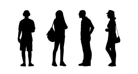 ordinary: silhouettes of ordinary young people standing outdoor in different postures