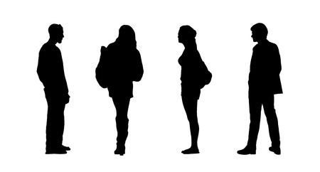 silhouettes of ordinary young people standing outdoor in different postures