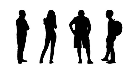 silhouettes of ordinary people of different age standing outdoor in different postures, profile and back views Banque d'images