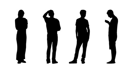 women   s clothes: silhouettes of ordinary people of different age standing outdoor in different postures, profile and back views Stock Photo