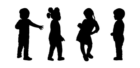 preschoolers: silhouettes of preschoolers girls and boys about 3 years old standing in different postures Stock Photo