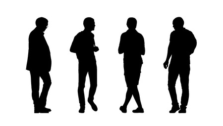 silhouettes of ordinary men of different age walking outdoor, front, back and profile views Banque d'images