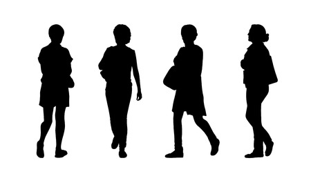 silhouettes of ordinary women of different age walking outdoor, front, back and profile views