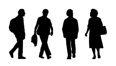 promenade: silhouettes of ordinary senior men and women walking outdoor, front and profile views Stock Photo