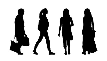 ordinary: silhouettes of ordinary women of different age walking outdoor, front, back and profile views