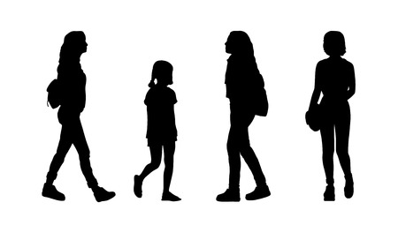 silhouettes of ordinary young girls walking outdoor, front and profile views Banque d'images