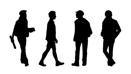 ordinary: silhouettes of ordinary men of different age walking outdoor, front, back and profile views Stock Photo