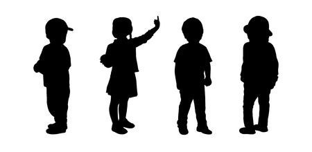 postures: silhouettes of preschoolers girls and boys about 3 years old standing in different postures Stock Photo