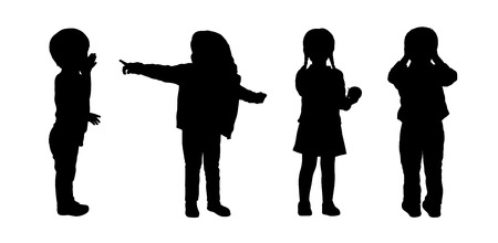 preschool: silhouettes of preschoolers girls and boys about 3 years old standing in different postures Stock Photo
