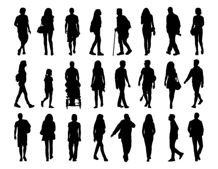 set going: big set of black silhouettes of men and women of different ages walking in the street, front, profile and back views