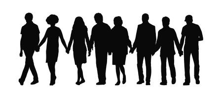 juntos: silueta de un grupo de personas de la mano y caminar Su juntos en una vista frontal fila