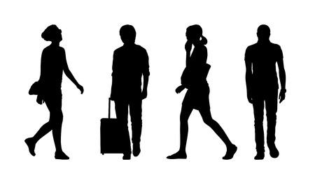 silhouettes of ordinary young men and women walking outdoor summertime front and profile views