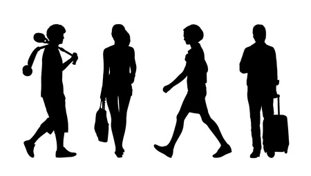 silhouettes of ordinary adult men and women walking outdoor summertime front and profile views