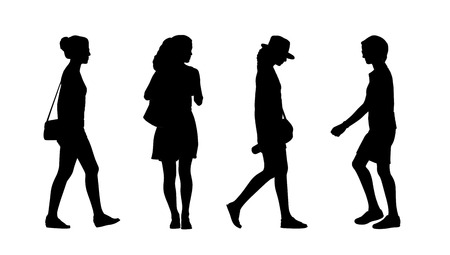 silhouettes of ordinary young adult women outdoor walking summertime front and profile views
