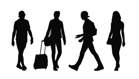young adult: silhouettes of ordinary young adult men and women walking outdoor summertime front and profile views Stock Photo