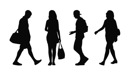 silhouettes of ordinary young adult men and women walking outdoor summertime front and profile views Banque d'images