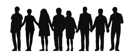 silueta skupiny lidí stojících svých rukou drží pohromadě v řadě čelním pohledu
