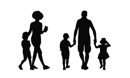 father with child: silhouettes of families walking outdoors holding hands summertime back and profile views Stock Photo