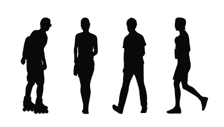 silhouettes of ordinary young adult men and women walking outdoor summertime front back and profile views