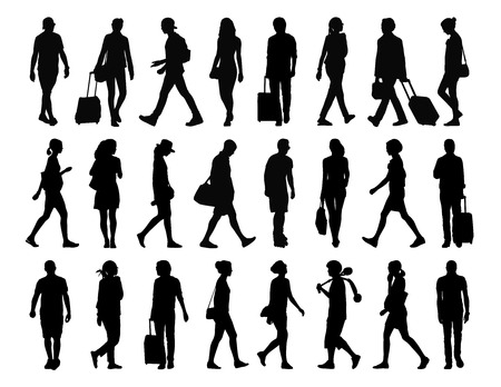 big set of black silhouettes of men and women ung adult walking in the front street and back profile views