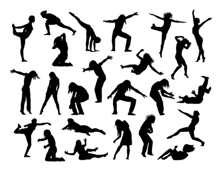 big set of black silhouettes of men and women in action, jumping, falling, making sport and exercises, dancing,  front and profile views Reklamní fotografie - 42312176