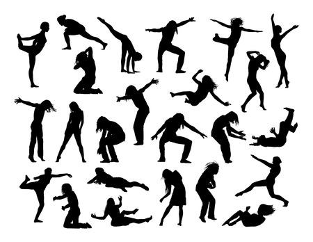 Grand ensemble de silhouettes noires des hommes et des femmes dans l'action, Sauter, Tomber, faire du sport et des exercices, de la danse, avant et vues de profil Banque d'images - 42312176