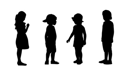 silhouettes of children 3-6 years old standing in different postures, front and profile view, summertime