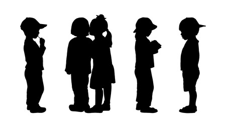 silhouettes of children 3 years old standing in different postures, back and profile view, summertime
