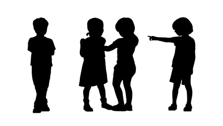 silhouettes of children 6 years old standing in different postures, front and back view, summertime Stockfoto