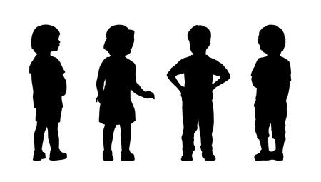 silhouettes of children 3 years old standing in different postures, front and back views, summertime