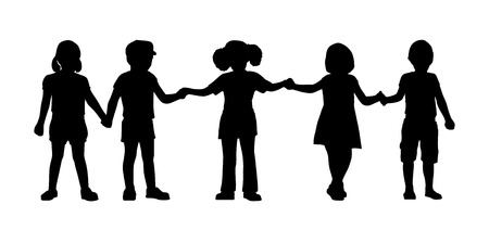 silhouettes of children of 4-5 years old standing holding hands together, front view Imagens