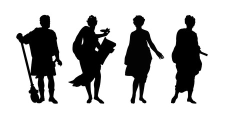 silhouettes of gods and heroes of ancient greek mythology