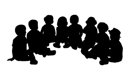 34: silhouette of a group of children of 3-4 years old seated in semi circle on the floor