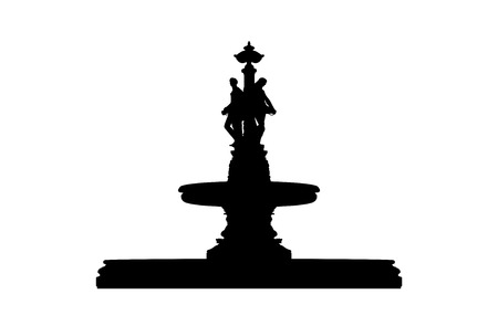 silhouette of a beautiful classic style old fountain with statues