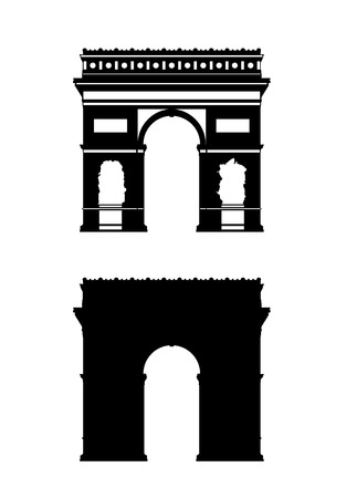 set of two silhouettes of a paris triumphal arch, one realistic and another stylized black and white