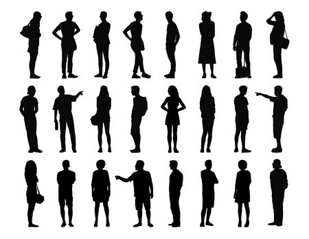 big set of black silhouettes of adult men and women standing in different postures, face, profile and back views, summertime