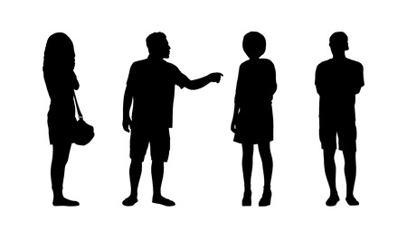 ordinary: silhouettes of ordinary adult men and women standing outdoor in different postures looking around, summertime, front, back and profile views