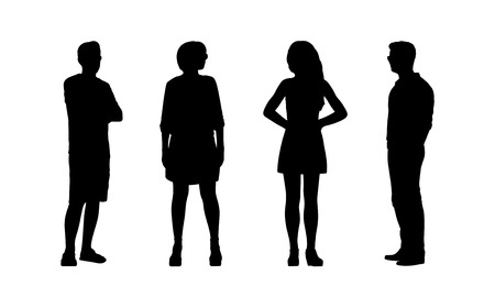 silhouettes of ordinary young adult men and women standing outdoor in different postures looking around, summertime, front and profile views