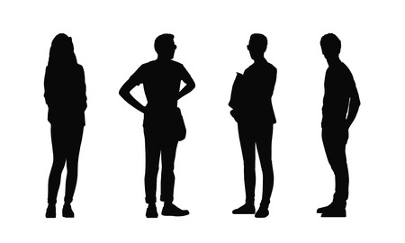 silhouettes of ordinary young adults standing outdoor in different postures looking around, summertime, front and profile views