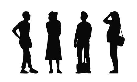 siluetas de los adultos jóvenes normales al aire libre en diferentes posturas de pie mirando a su alrededor, verano, frente y perfil visitas